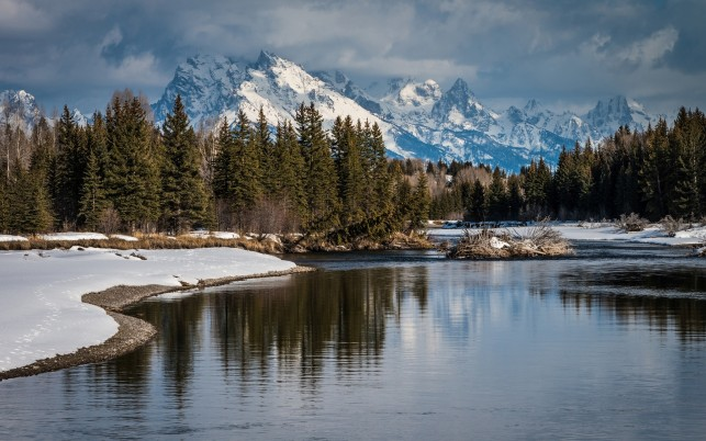 Snowy Peaks Forest River Snow wallpapers and stock photos
