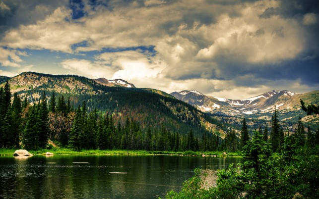Peaks Coniferous River Clouds wallpapers and stock photos