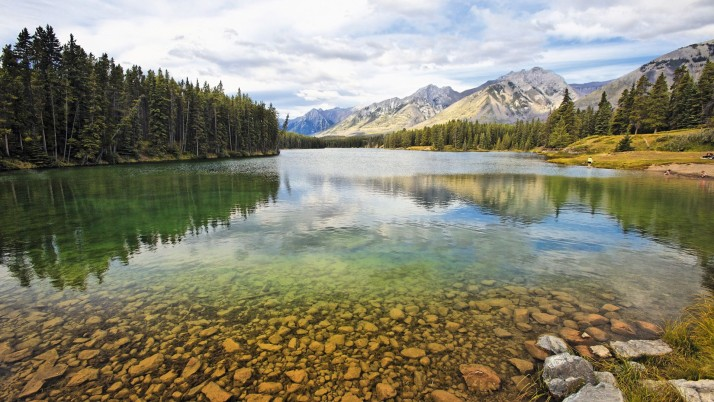 Lake Johnson Alberta Canada wallpapers and stock photos