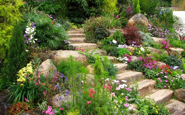 Pretty Flower Garden Steps wallpapers and stock photos