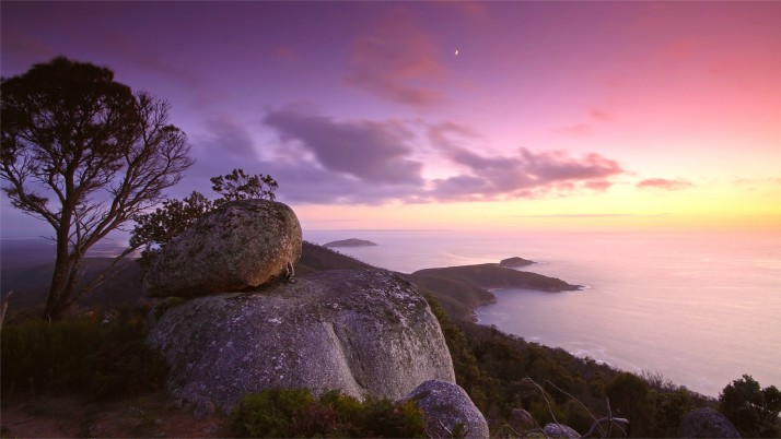 Ocean Hill Lookout Purple Sky wallpapers and stock photos