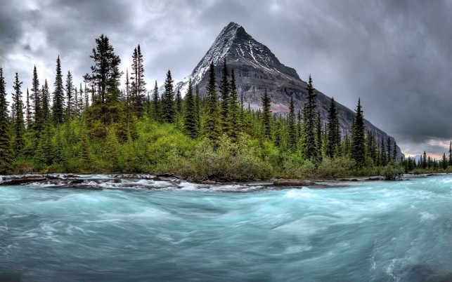 Wild River Peak Trees Stormy wallpapers and stock photos