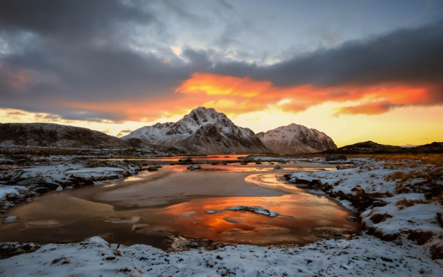 Lofoten Islands Norway Snowy wallpapers and stock photos