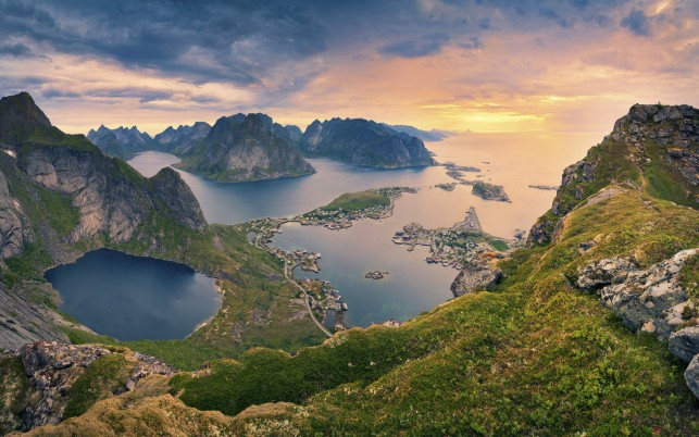 Lofoten Norway Aerial View wallpapers and stock photos