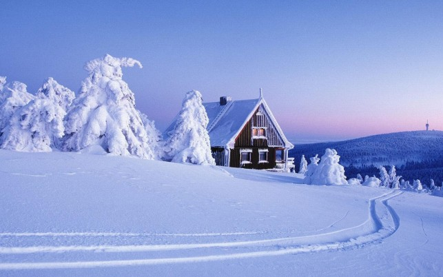Peaks Deep Snow Cabin Trees wallpapers and stock photos