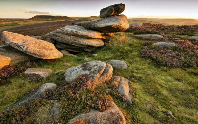 Rocks Heather Grass Hills Sky wallpapers and stock photos