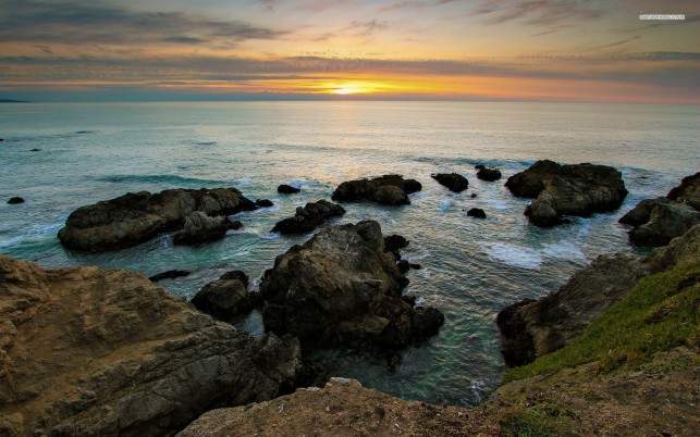 Gorgeous Ocean Rocks Sunset wallpapers and stock photos