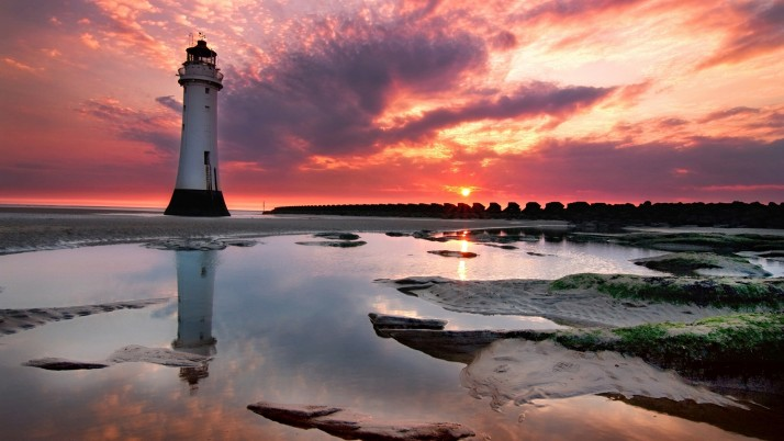 Ocean Light House Pink Sky wallpapers and stock photos