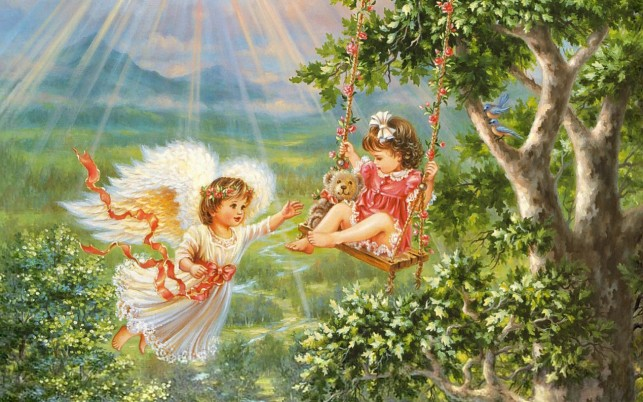 Angel Child Swing Forest wallpapers and stock photos