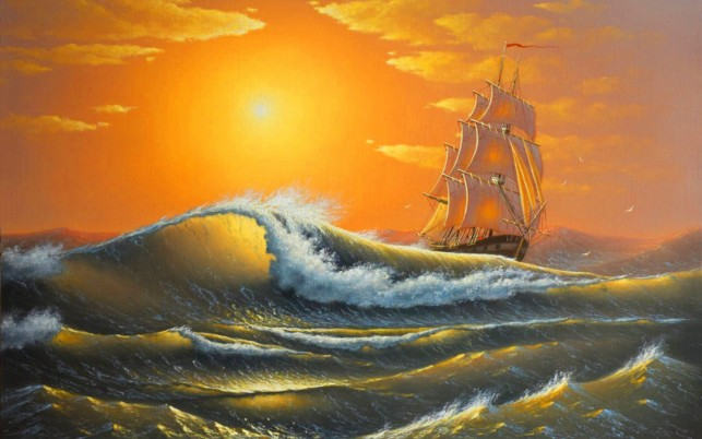 Wild Ocean Ship Orange Sunset wallpapers and stock photos