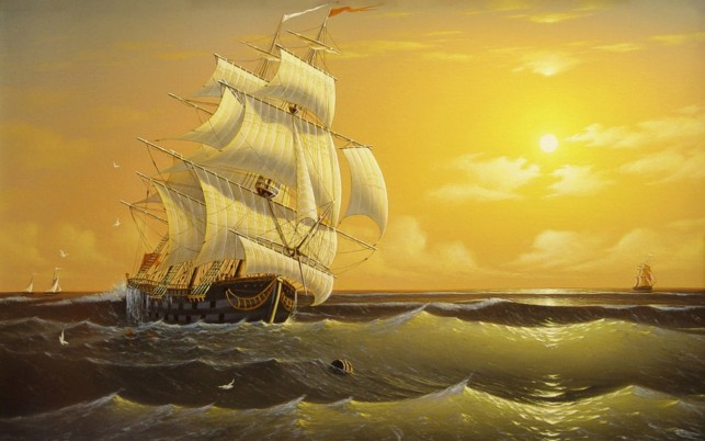 Deep Ocean Ship Golden Sunset wallpapers and stock photos