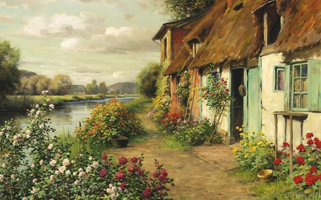 Farm House Pretty Floral River wallpapers and stock photos