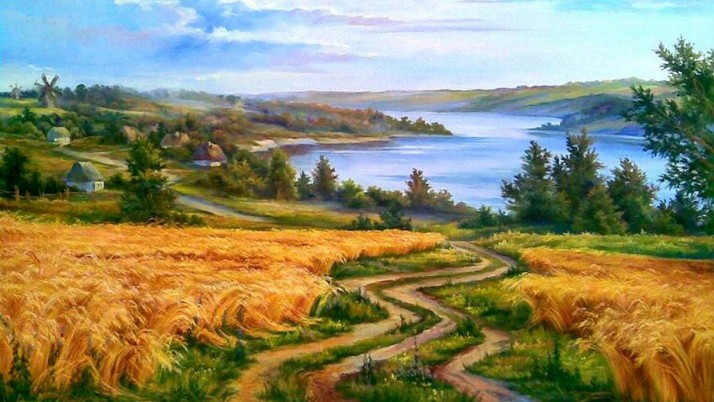 Wheat Field Path Lake Trees wallpapers and stock photos