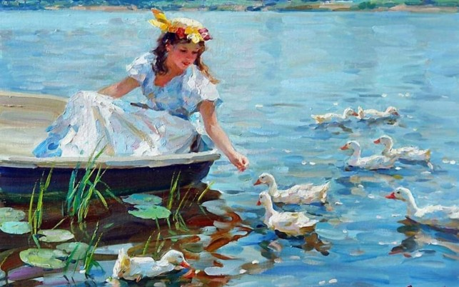 Woman Dress Boat Lake Ducks wallpapers and stock photos