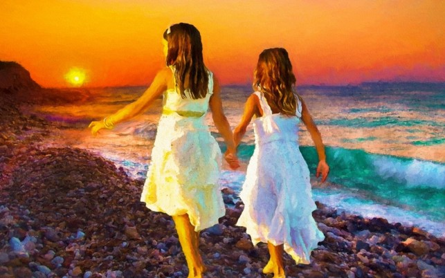 Ocean Sunset Children Walk wallpapers and stock photos