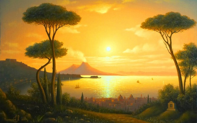 Trees City Ocean Golden Sun wallpapers and stock photos