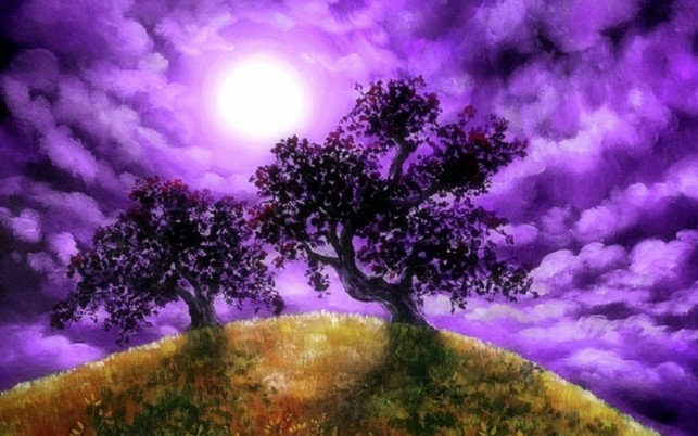 Oaks Hill Fabulous Purple Sky wallpapers and stock photos