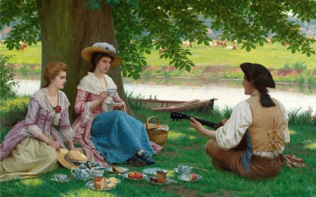 Random: Women Man Guitar Picnic Meadow