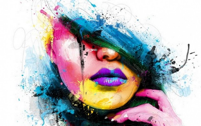 Abstract Colorful Face Woman wallpapers and stock photos