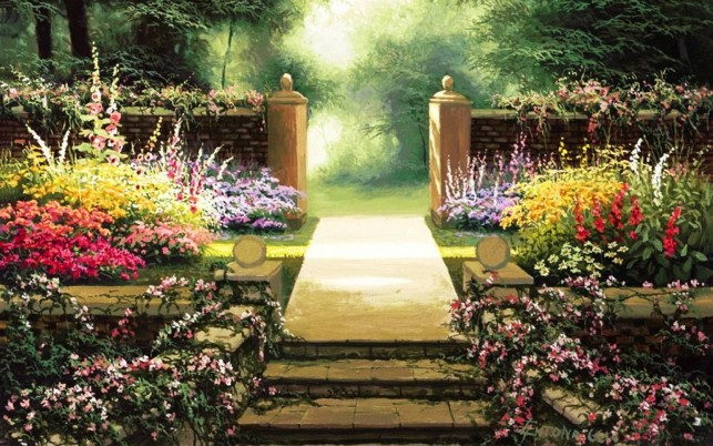 Pretty Floral Steps Park Entry wallpapers and stock photos