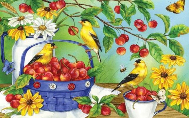 Birds Butterflys & Cherries wallpapers and stock photos