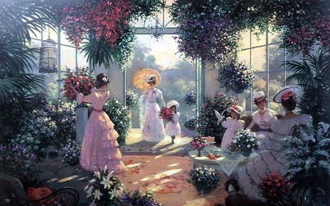 Ladies Tea Time Conservatory wallpapers and stock photos