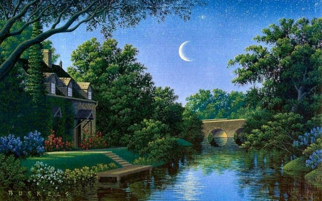 Trees Bridge Creek House Night wallpapers and stock photos