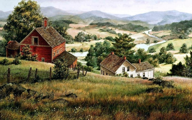 Random: Hills Farm Houses River Valley