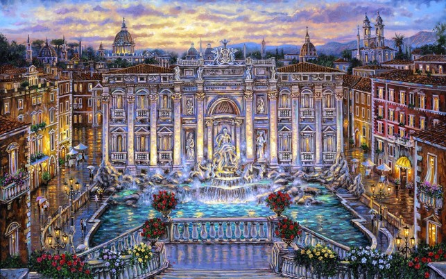 Trevi-Brunnen Rom Italien wallpapers and stock photos