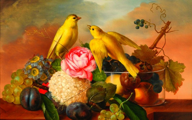 Yellow Birds Flowers & Fruits wallpapers and stock photos