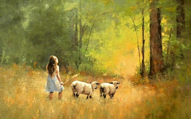 Forest Girl Field Sheeps wallpapers and stock photos