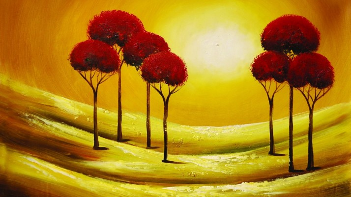 Red Trees & Golden Sunshine wallpapers and stock photos