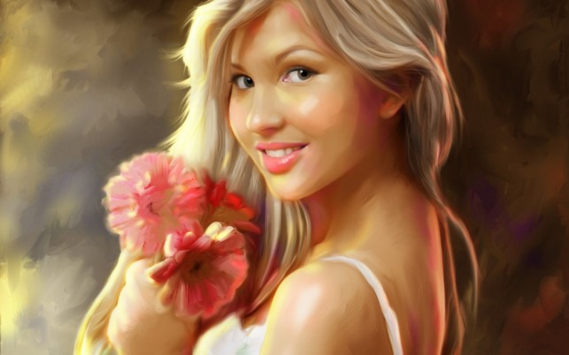 Random: Woman Blonde Smile Pink Floral