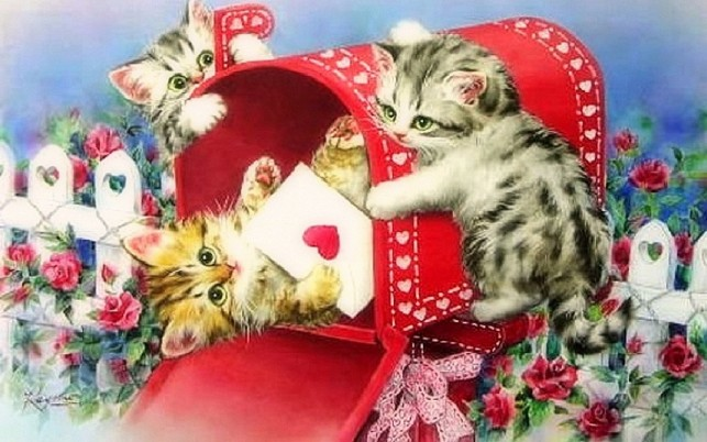Lustige Kittys Brief Of Love wallpapers and stock photos