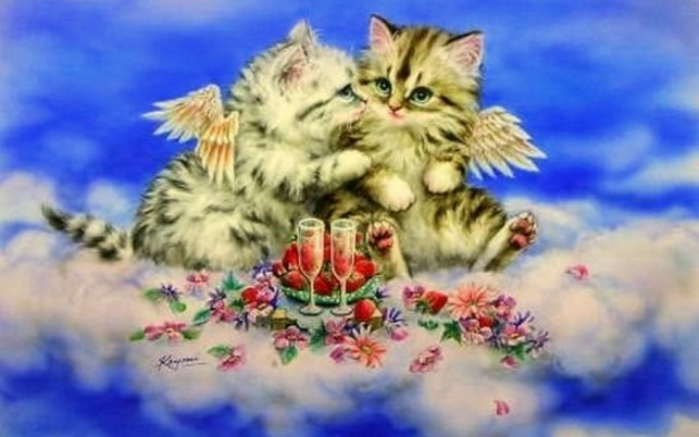 Cute Kittys Heavenly Romantic wallpapers and stock photos