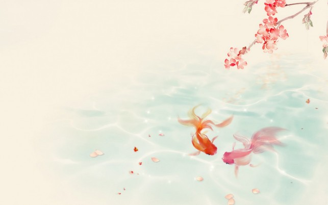 Lovely Koi Couple Spring wallpapers and stock photos