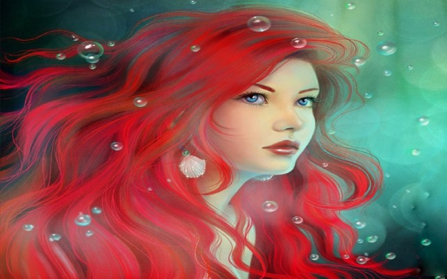 Pretty Red Head Mermaid wallpapers and stock photos