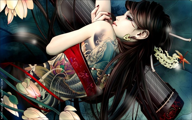 Girl Brunette Koi Tattoo wallpapers and stock photos