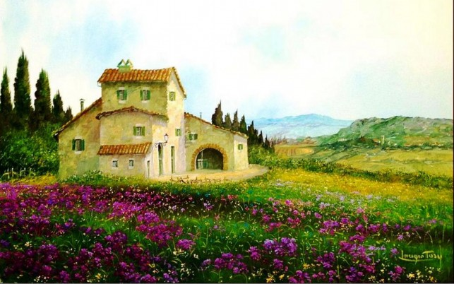 Purple Flowers Cottage Italy wallpapers and stock photos