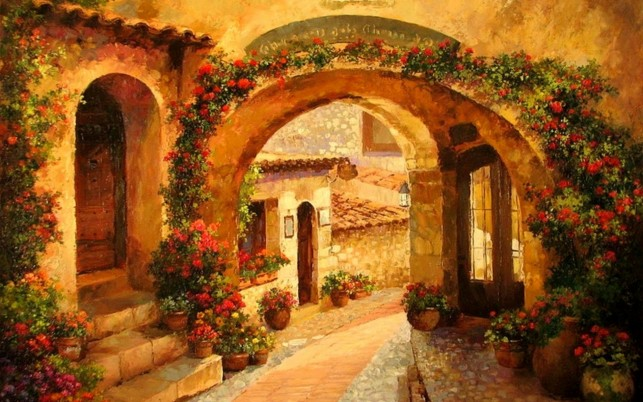 Courtyard Red Flowers Tuscany wallpapers and stock photos