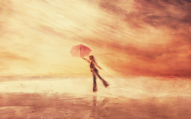 Woman Ocean Umbrella Fly Away wallpapers and stock photos