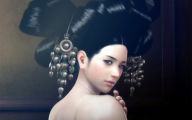 Woman Black Hair Ornaments wallpapers and stock photos