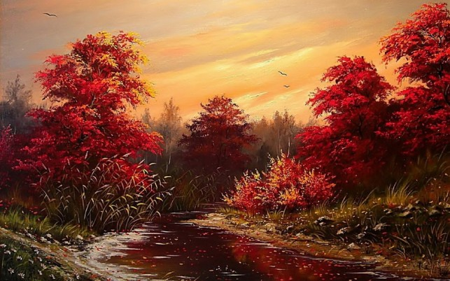 Random: Great Red Trees River Sunset