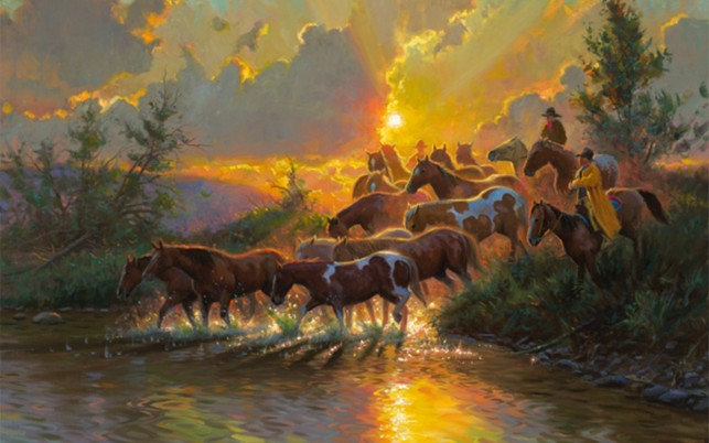 Cowboys Wild Horses Sunrise wallpapers and stock photos
