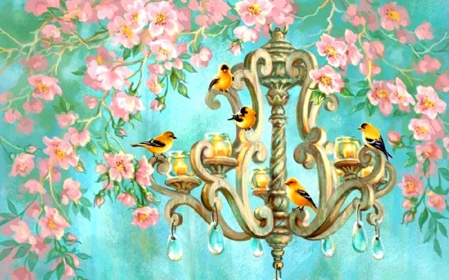 Birds Chandelier Pink Flowers wallpapers and stock photos