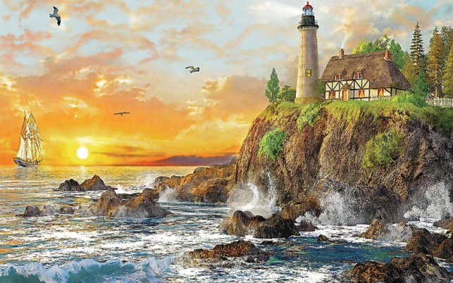 Ocean Cliff Light House Sunset wallpapers and stock photos