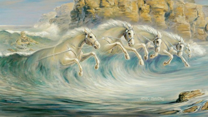 Ocean Driver Surreal Horses wallpapers and stock photos