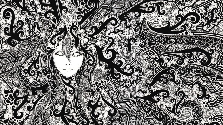 Face Psychedelic Black & White wallpapers and stock photos