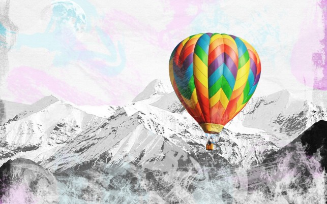 Peaks Colorful Hot Air Balloon wallpapers and stock photos