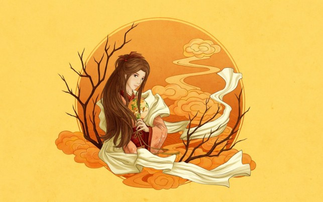 Woman Brunette Orange Moon wallpapers and stock photos